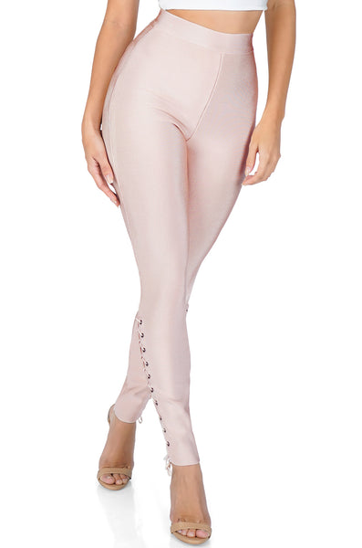 ROG Side Lace Up Bandage Pants, Pink