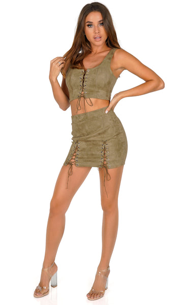 ROG Pixie Lace Up Crop Top & Skirt Set, Olive