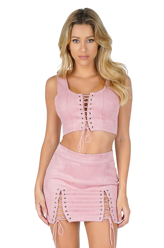 ROG Pixie Lace Up Crop Top & Skirt Set, Pink