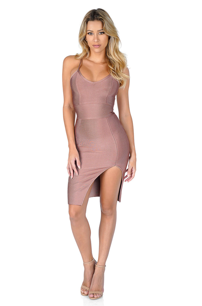 ROG Tanya Front Leg Slit Mini Bandage Dress, Dolce
