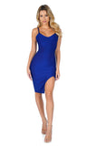 ROG Tanya Front Leg Slit Mini Bandage Dress, Navy