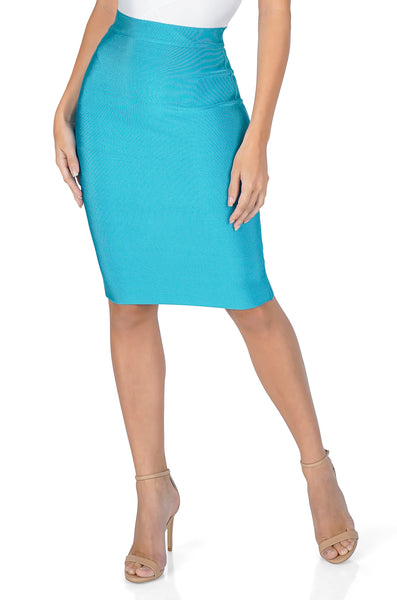 ROG Signature Bandage Pencil Skirt, Teal