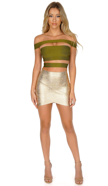 ROG Thema Mini Bandage skirt, Gold