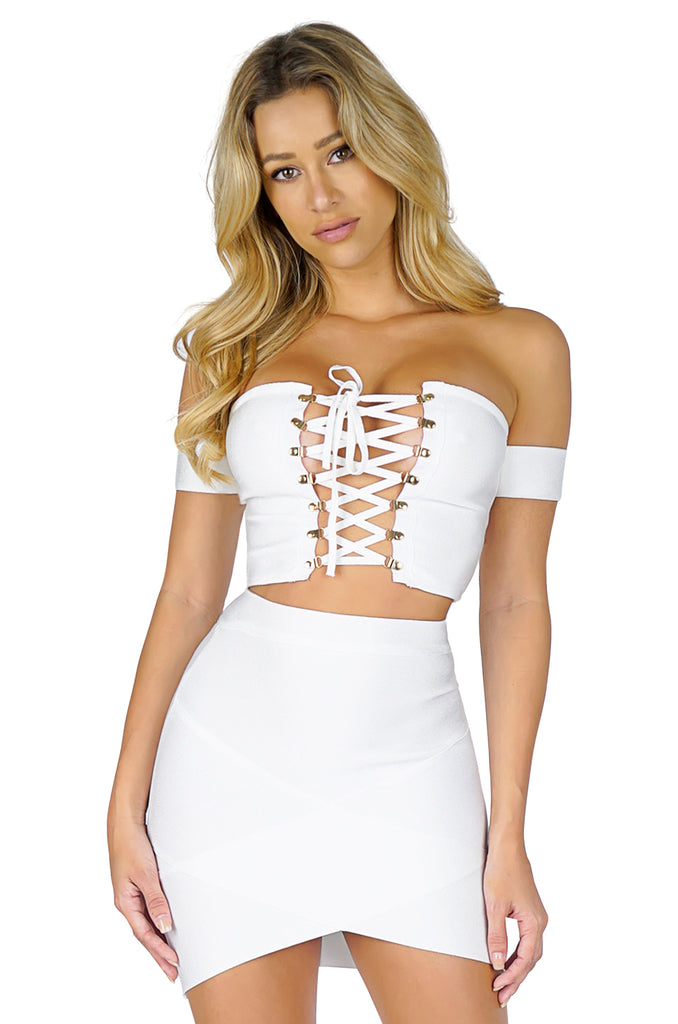 ROG Off Shoulder Lace Up Bandage Crop Top, White