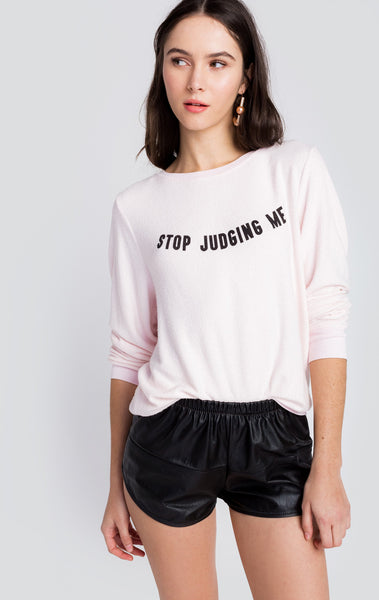 WILDFOX Stop Judging Beach Sweater front
