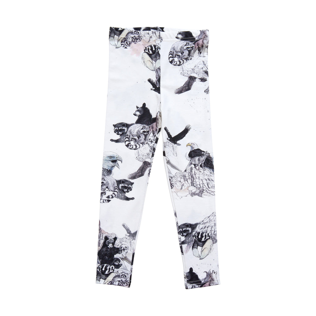 White animal print leggings