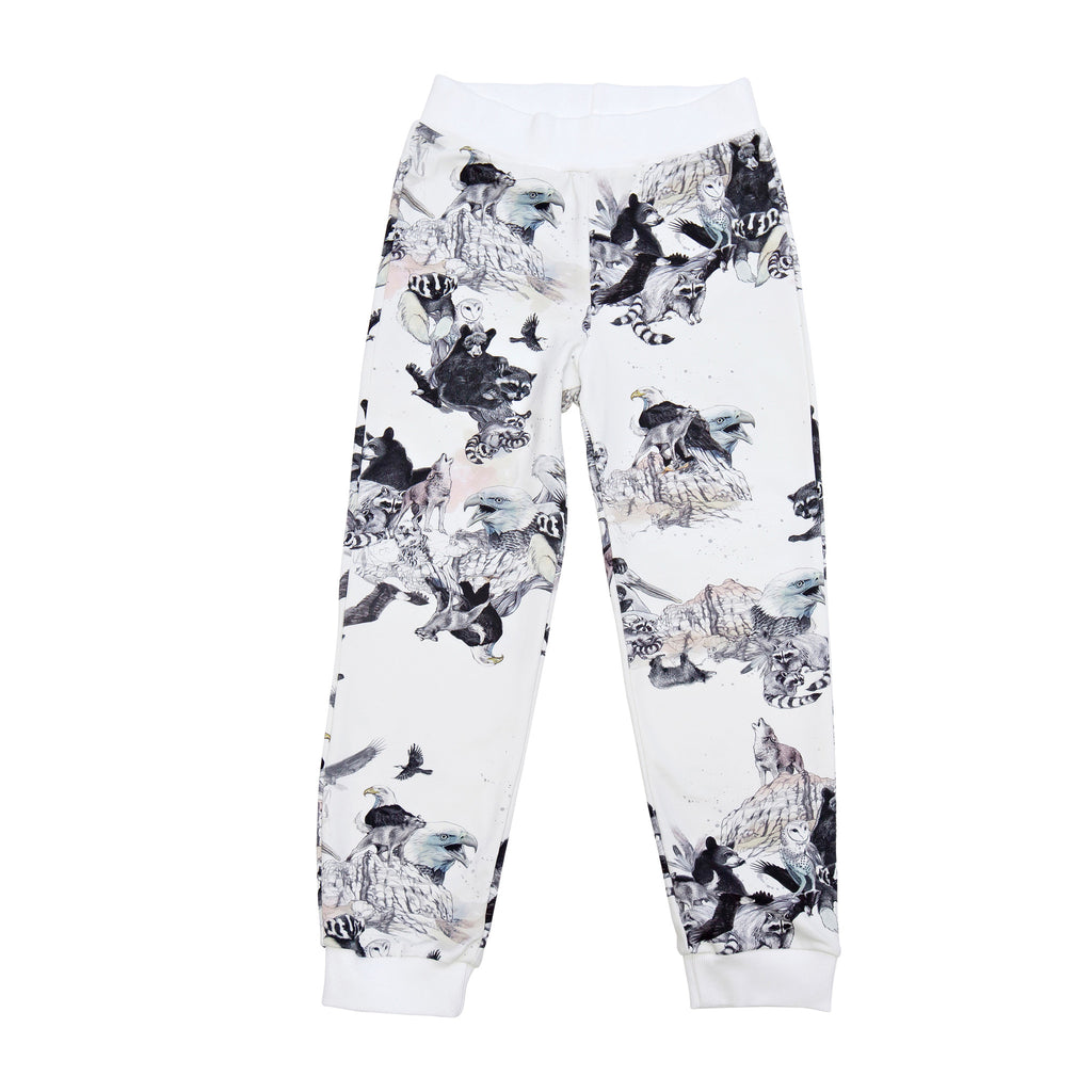 White animal print sweatpants