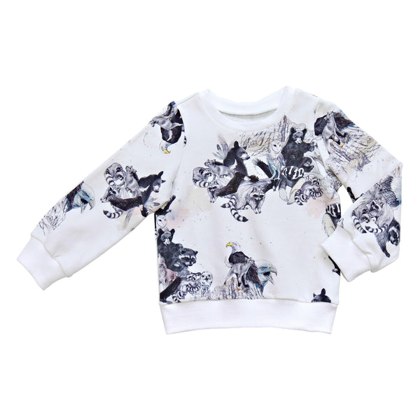 White animal print sweatshirt