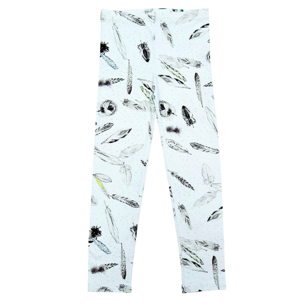 White feather print leggings