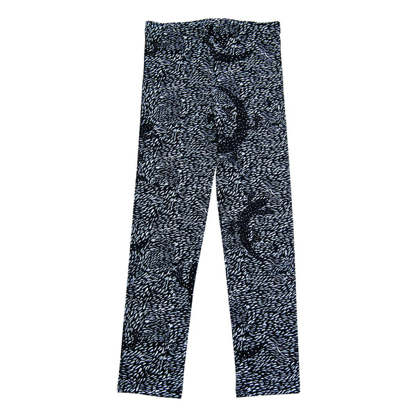 Black lizard leggings