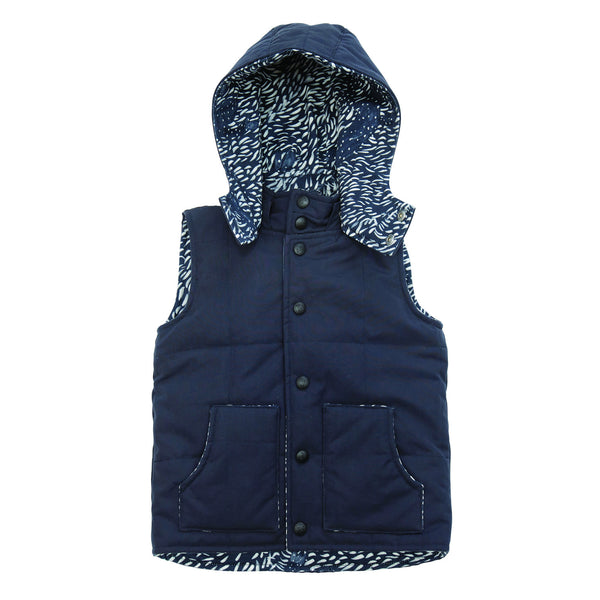 Navy outdoor vest with lizard print lining