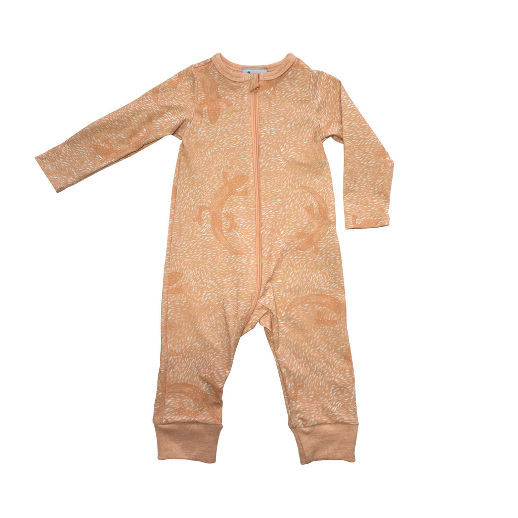 Orange lizard baby jumpsuit