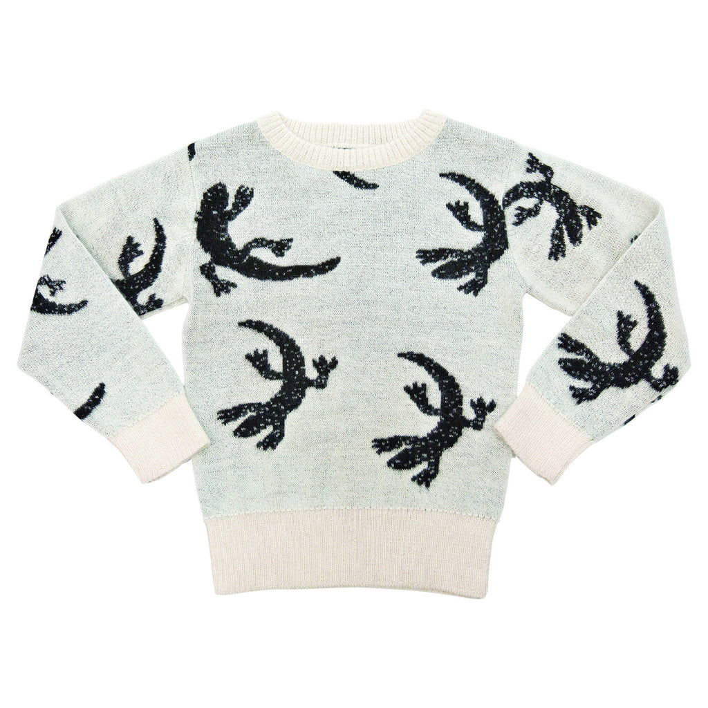 Knitted white lizard sweater