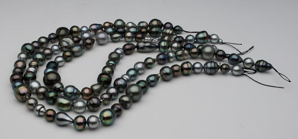 Three-row Tahitian pearl harvest strand