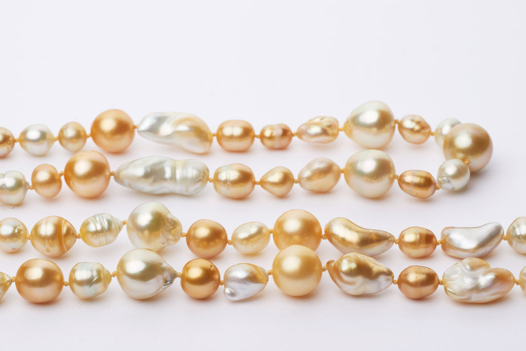Matched golden harvest pearl strand