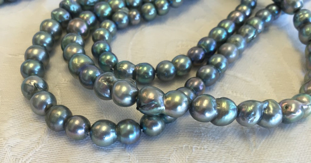 Baroque Blue Akoya Pearls
