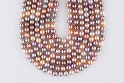 Intensely saturated colors bead-nucleated freshwater pearls