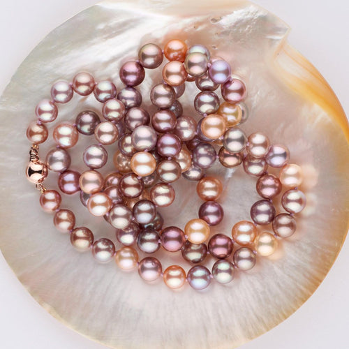 New, colorful freshwater pearls with a bead