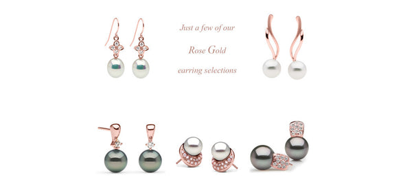 Rose gold settings with Tahitian pearls, South Sea pearls and metallic freshwaters