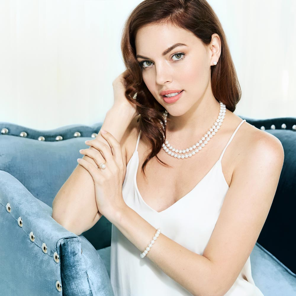 Model Wearing an Akoya Pearl Necklace