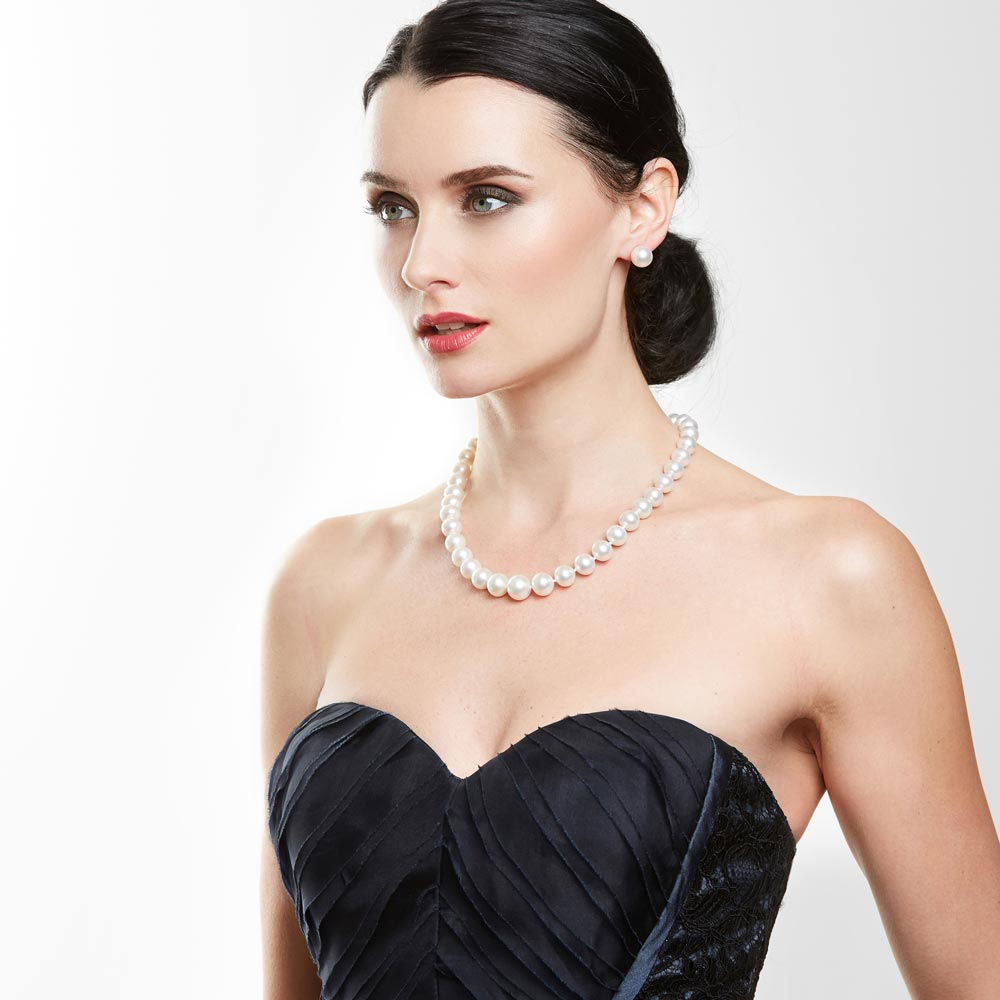 Model Wearing a South Sea Pearl Necklace