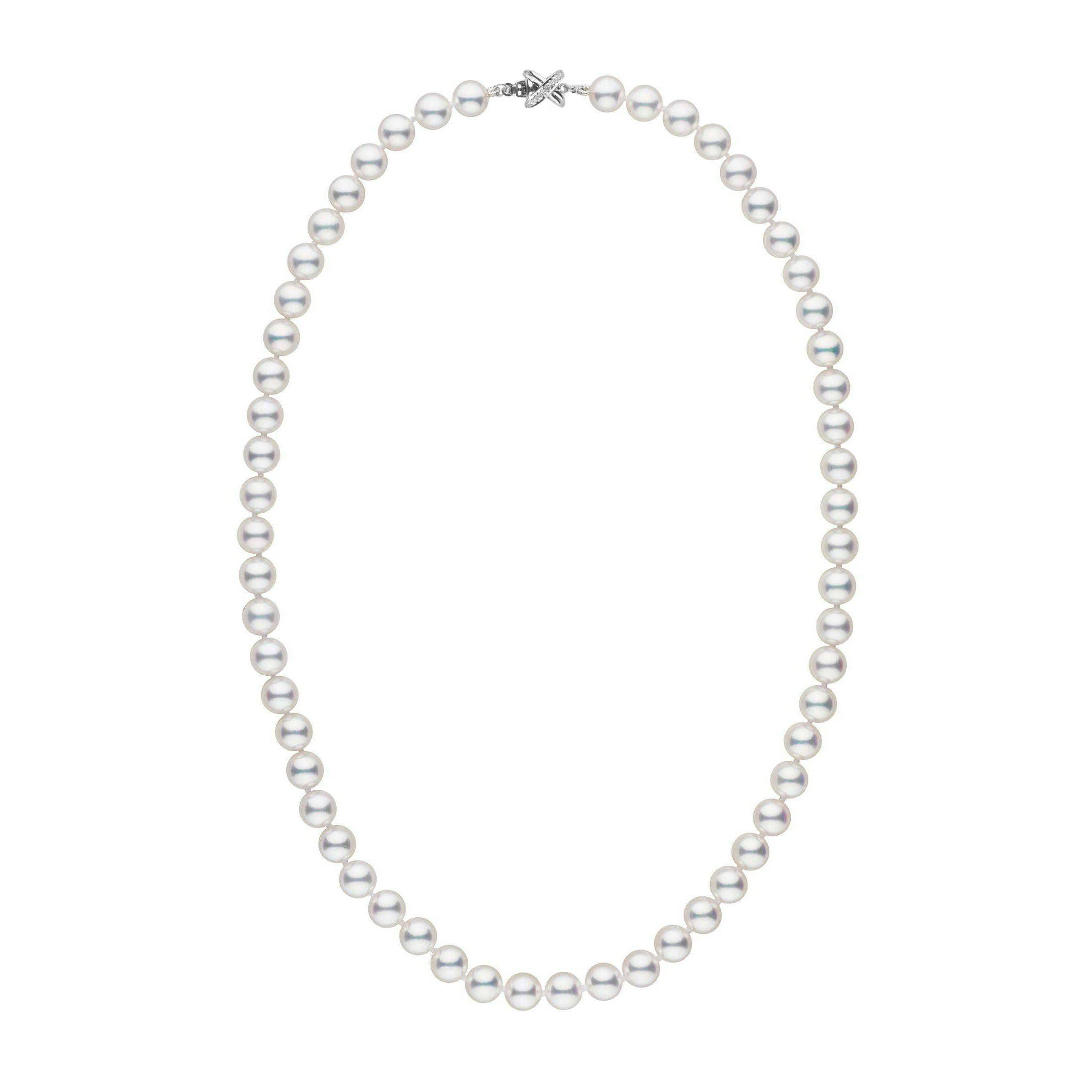 7.0-7.5 mm White AAA Akoya 18 inch Pearl Necklace with Diamond X Clasp