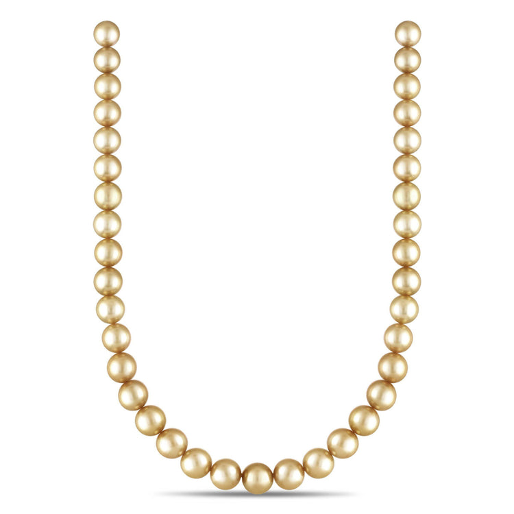 10-11.9 mm AA+/AAA Round Golden South Sea Necklace