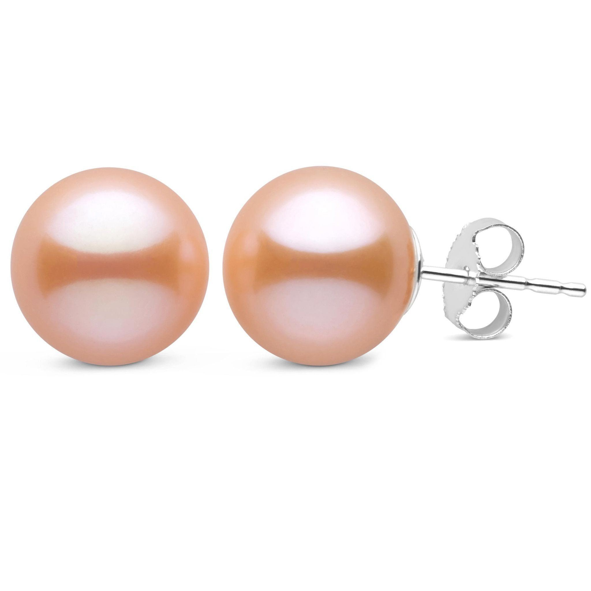 10.0-10.5 mm Pink to Peach Freshadama Freshwater Pearl Stud Earrings