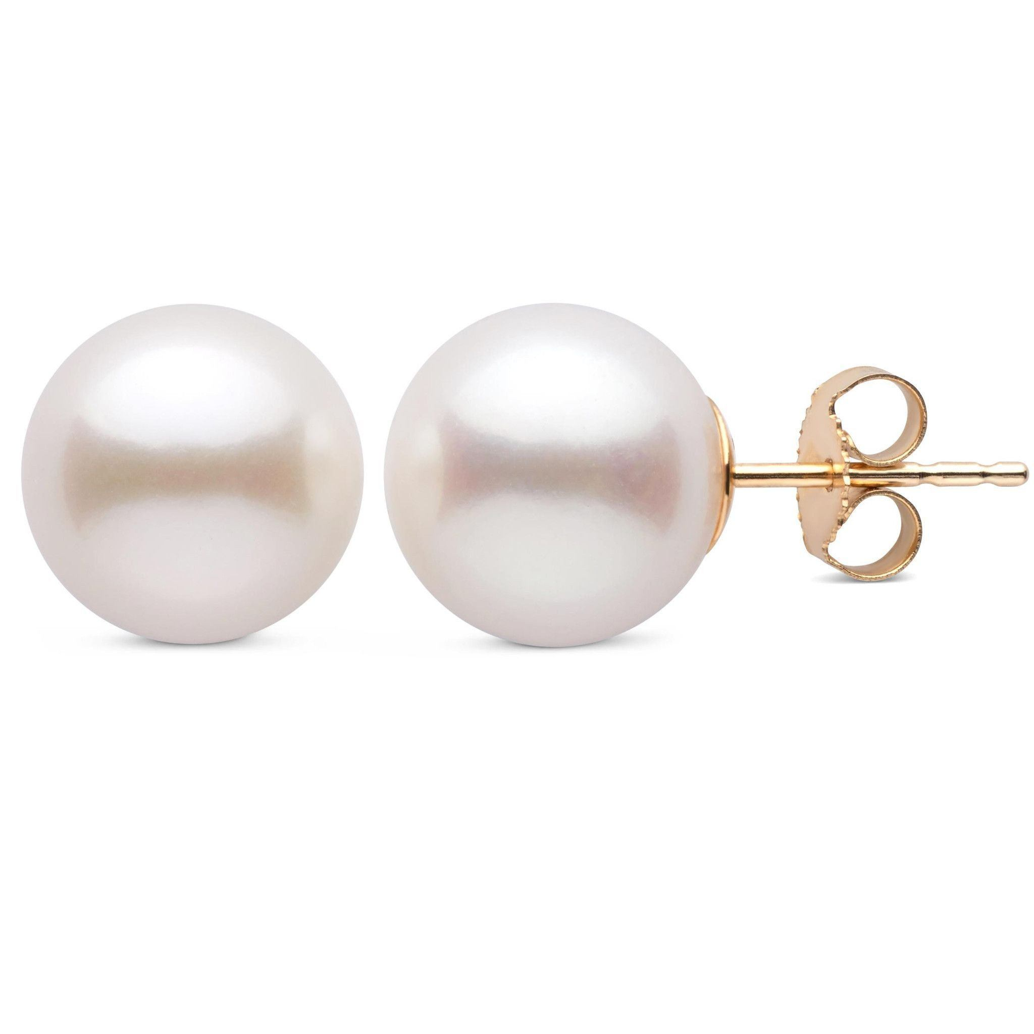 10.0-10.5 mm White Freshadama Freshwater Pearl Stud Earrings