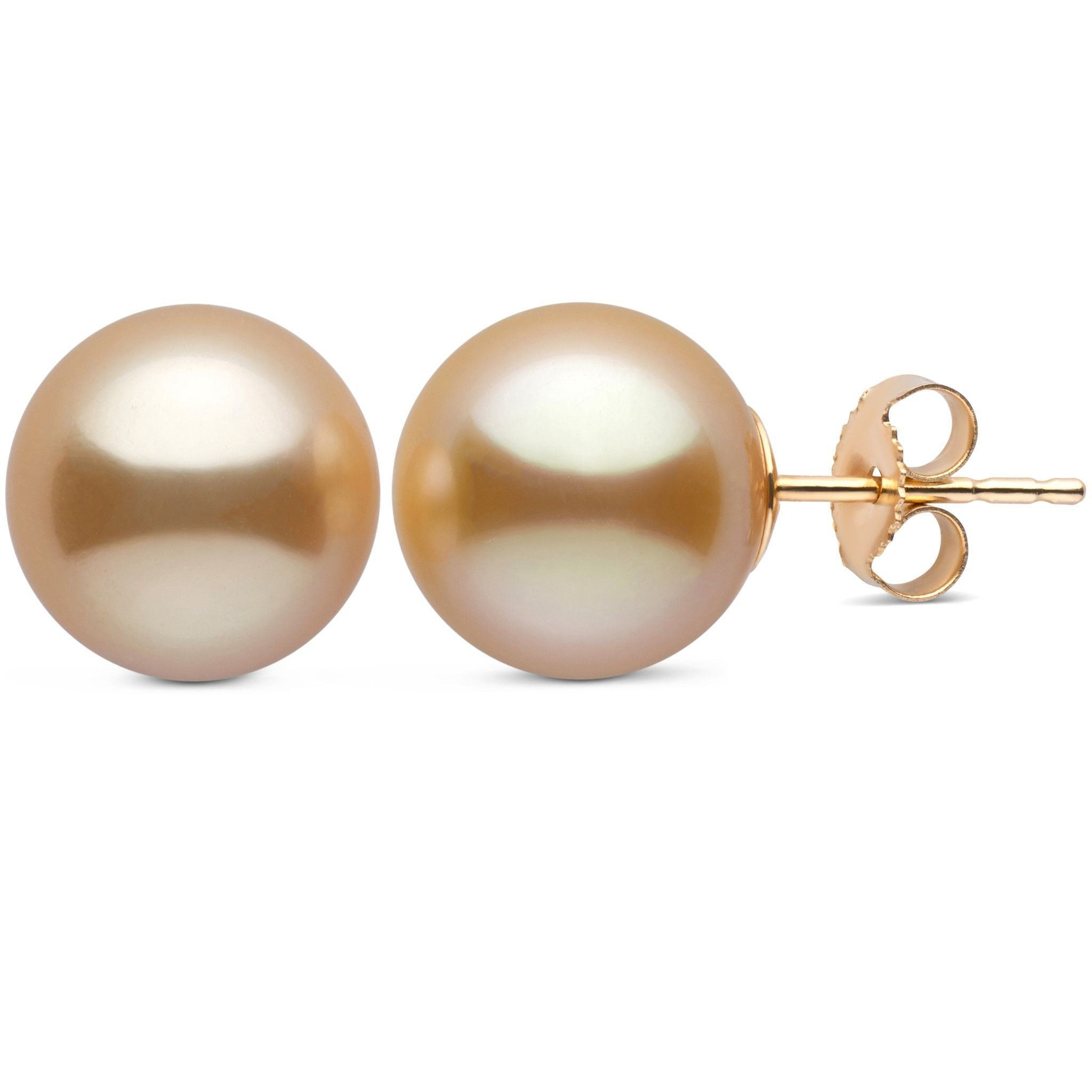 10.0-11.0 mm AAA Golden South Sea Pearl Stud Earrings