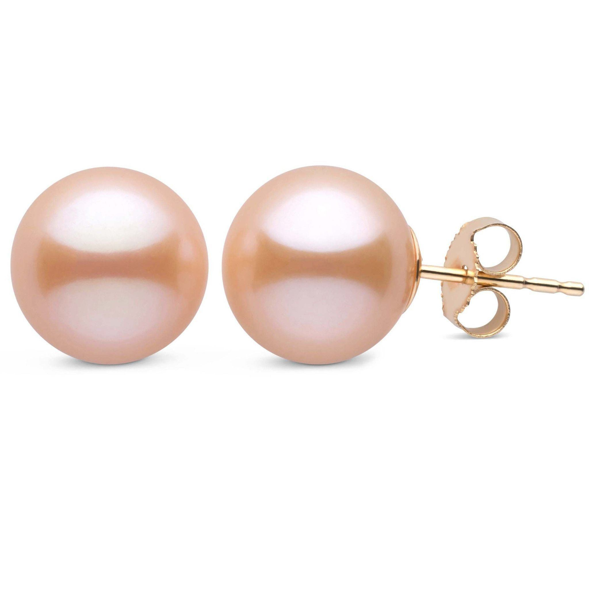 10.0-11.0 mm AAA Pink to Peach Freshwater Pearl Stud Earrings