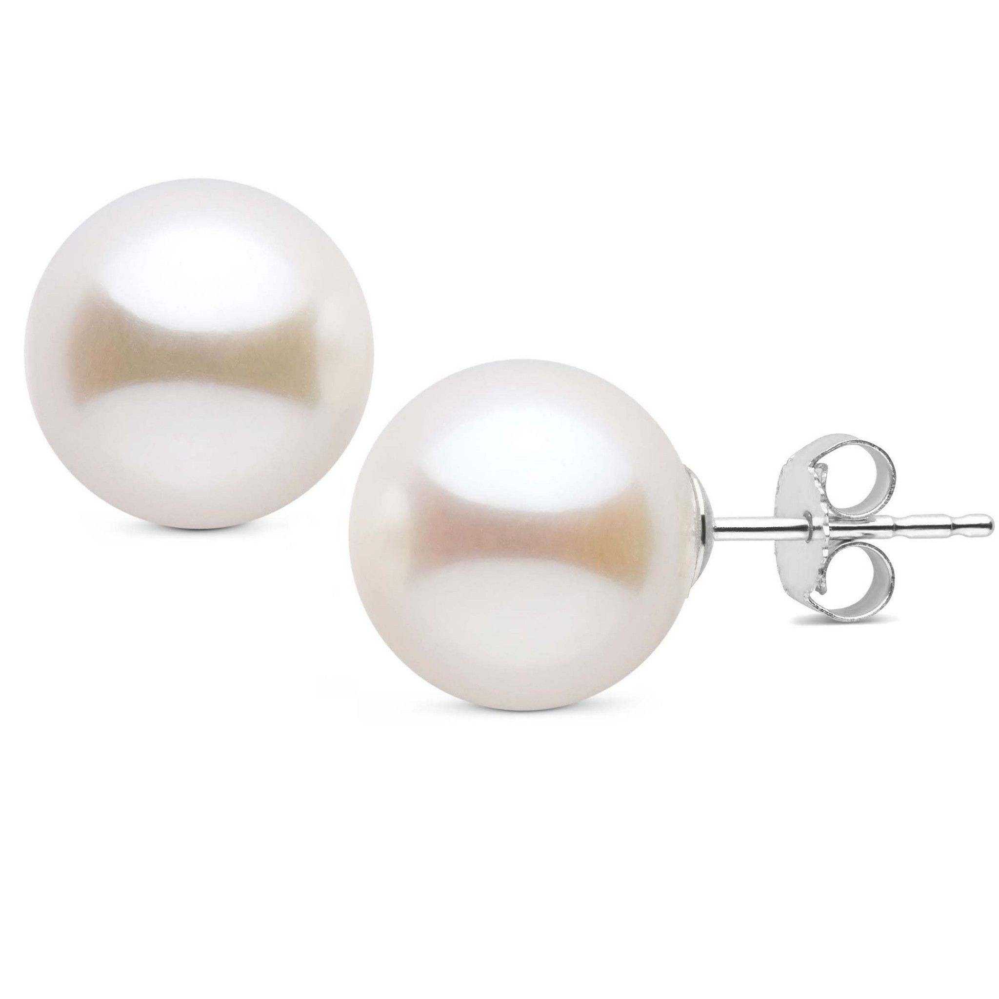 10.0-11.0 mm AAA White Freshwater Pearl Stud Earrings