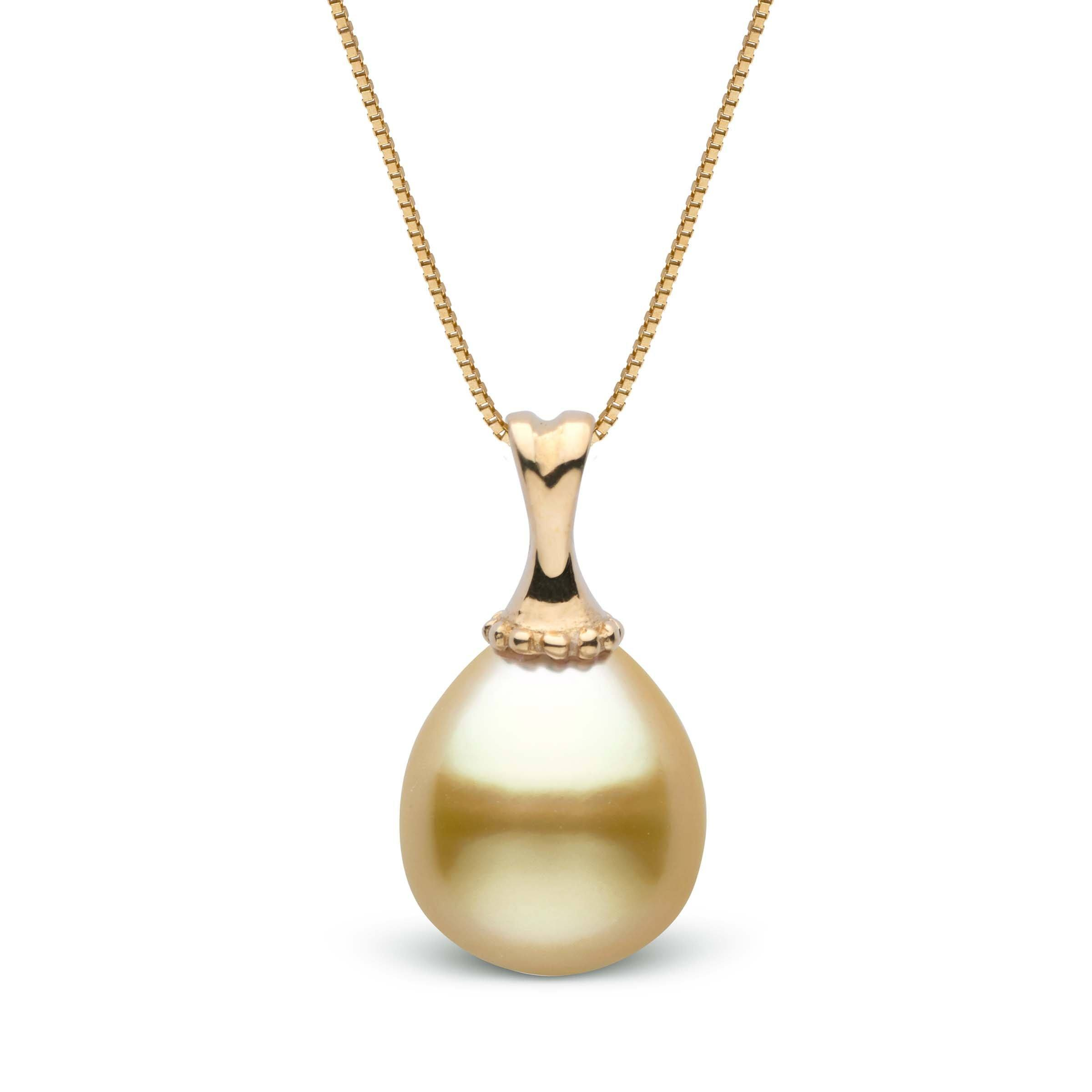 10.0-11.0 mm Golden South Sea Drop Pearl Pendant