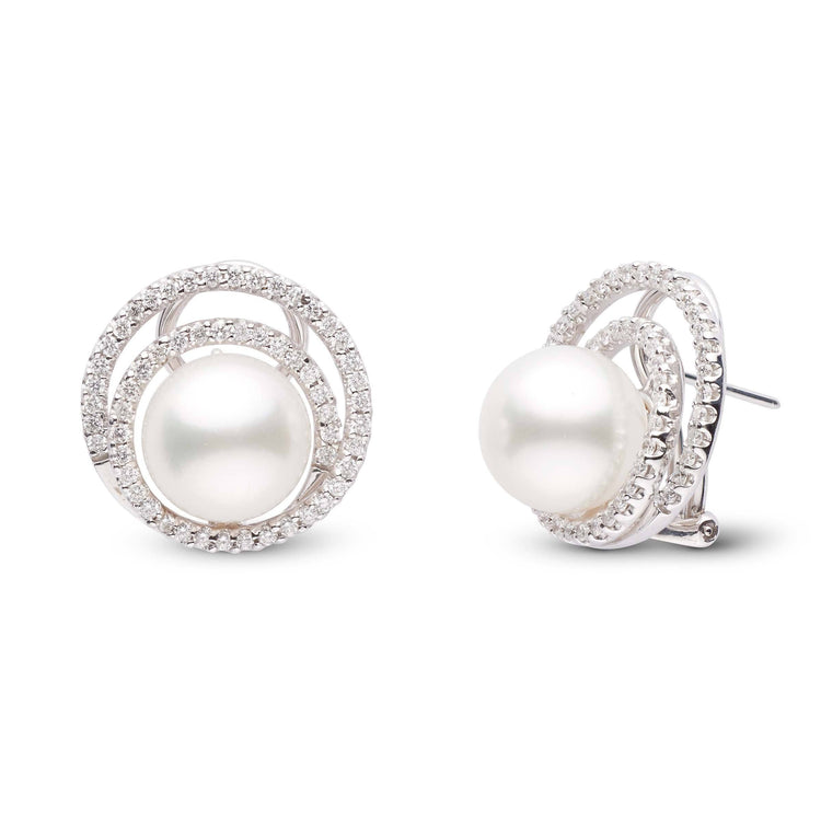 10.0-11.0 mm White South Sea and Diamond Halo Omega Back Earrings