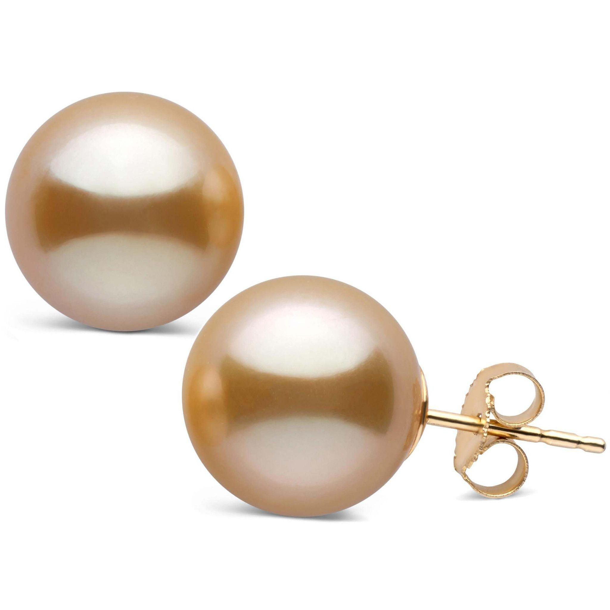 12.0-13.0 mm AAA Golden South Sea Pearl Stud Earrings