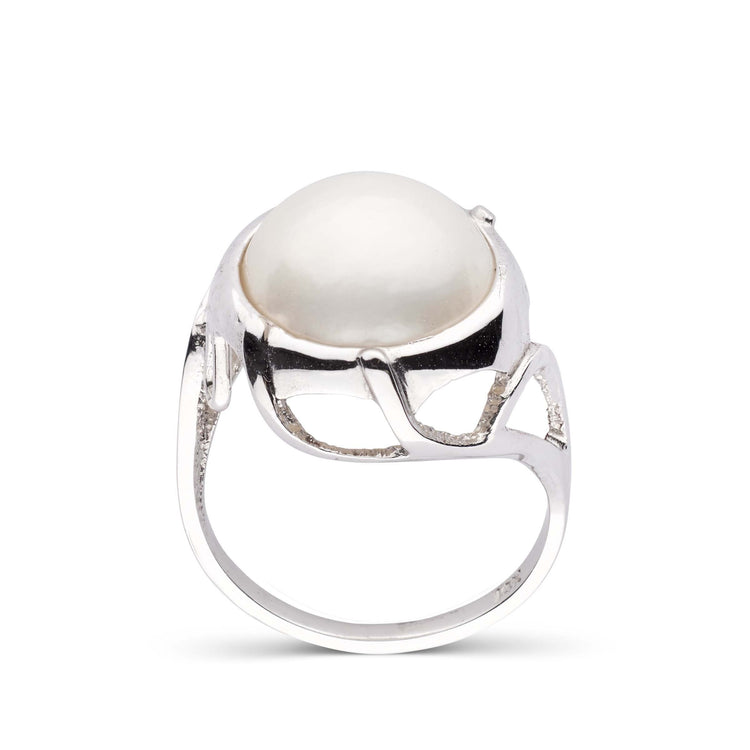 12.5 mm Mabe Freshwater Pearl White Gold Ring