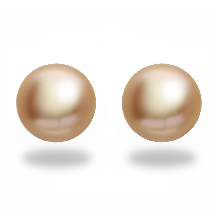 13.0-14.0 mm AA+ Round Golden South Sea Pearl Stud Earrings