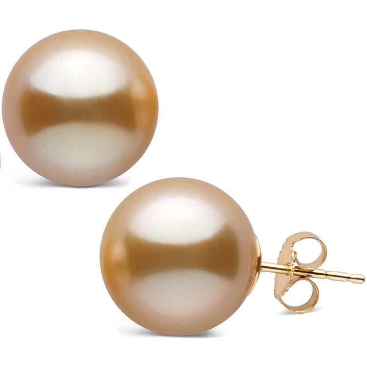 13.0-14.0 mm AAA Golden South Sea Pearl Stud Earrings