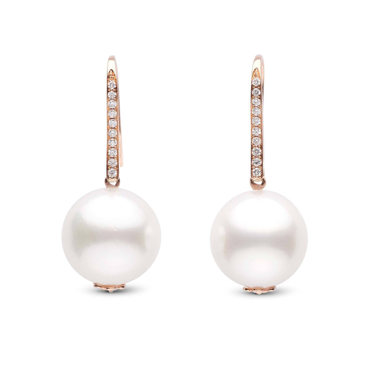 13.0-14.0 mm White South Sea Pearl and Diamond 18K Hook Earrings