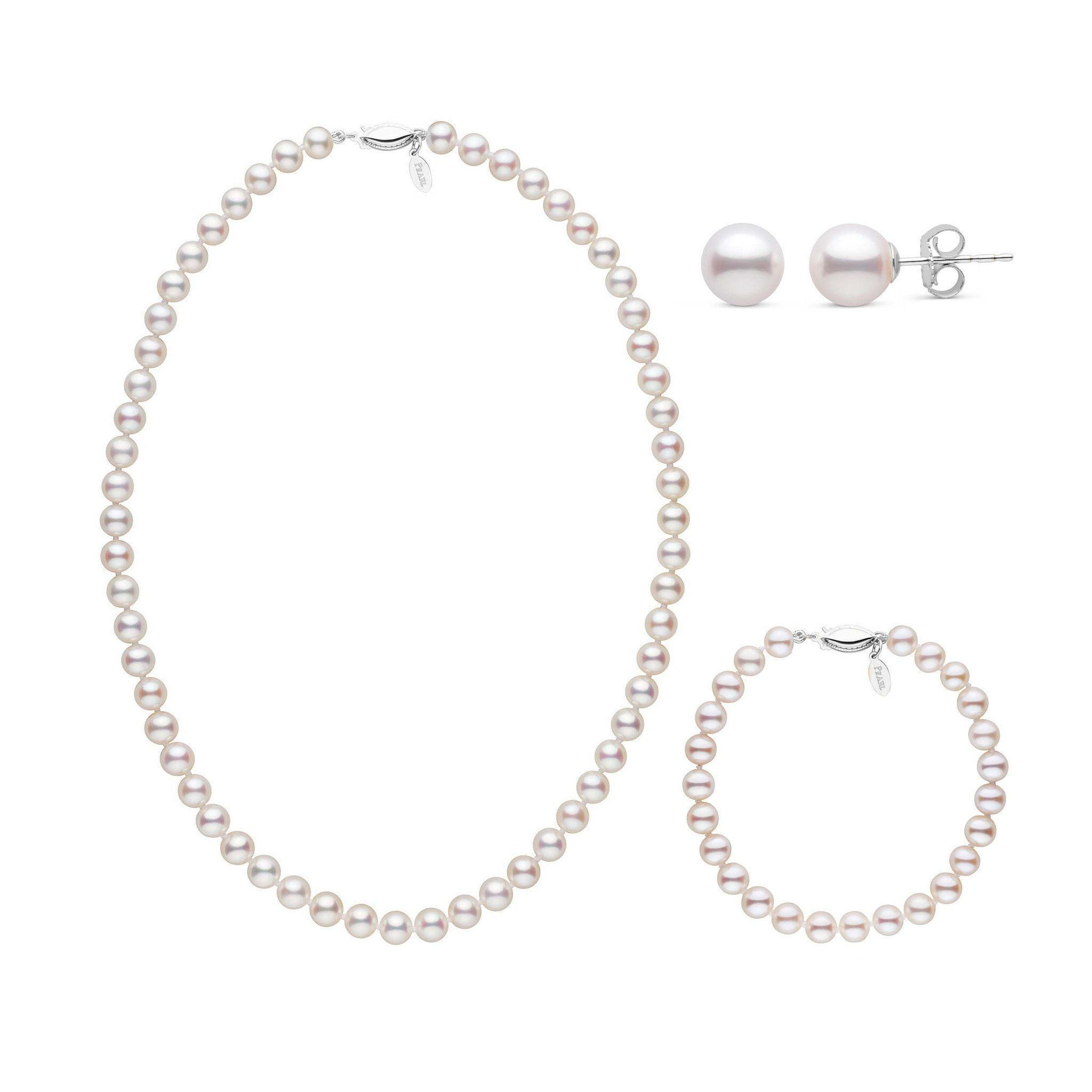 16 Inch 3 Piece 6.5-7.0 mm White Freshadama Freshwater Pearl Set