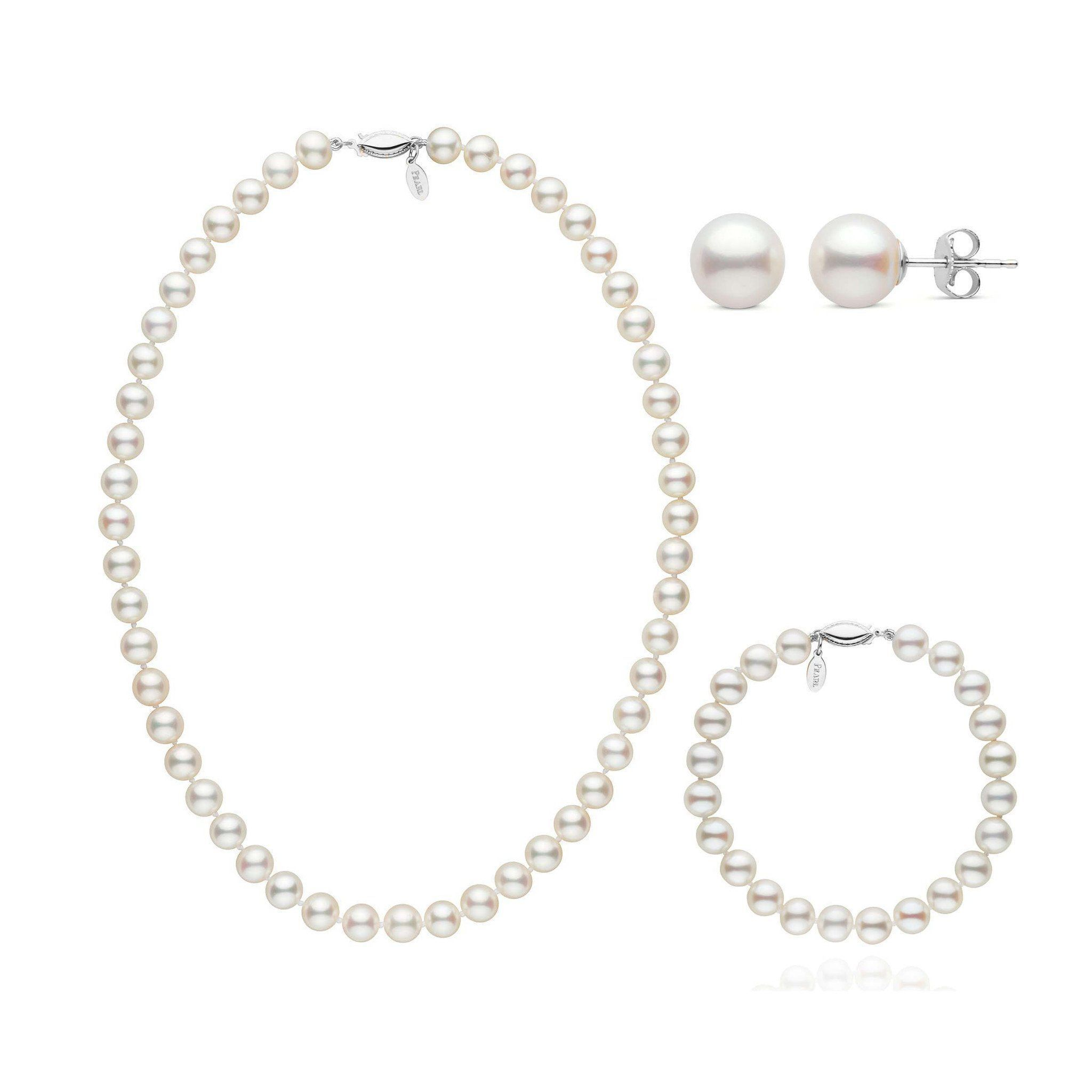 16 Inch 3 Piece 7.5-8.0 mm White Freshadama Freshwater Pearl Set