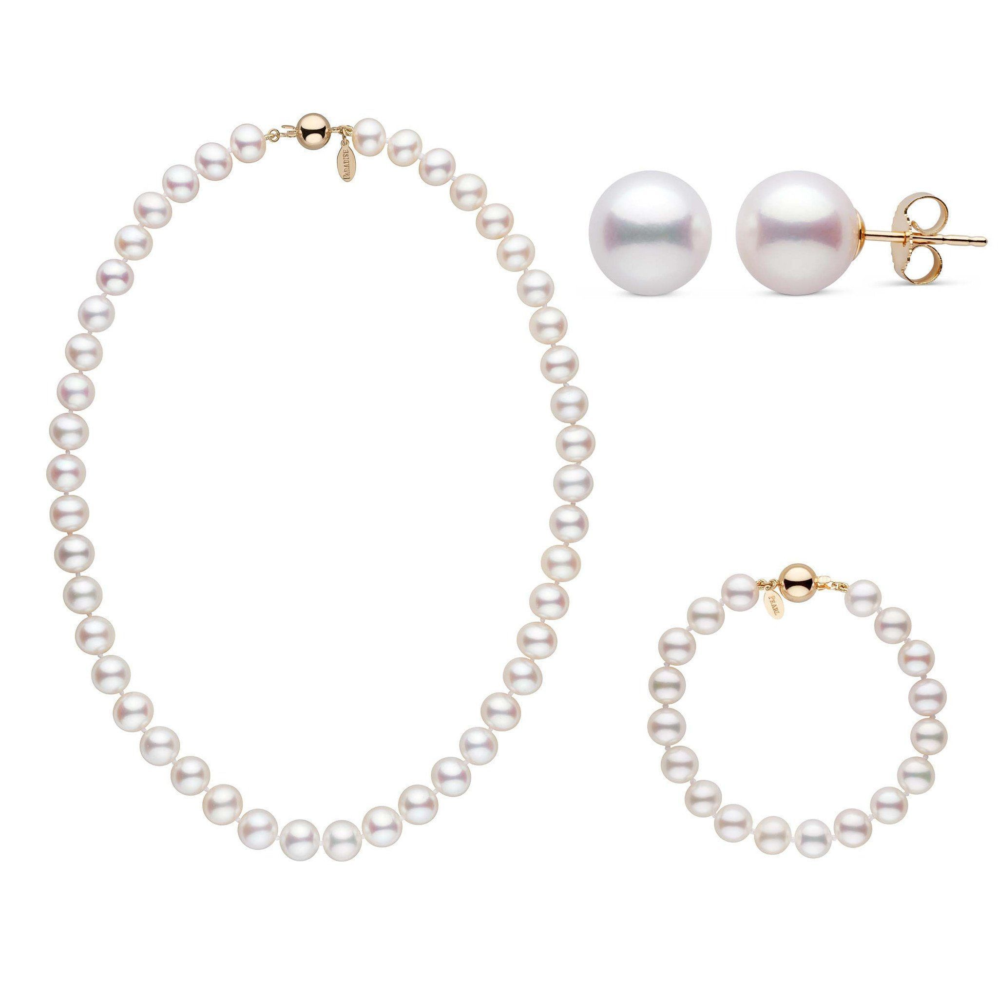 16 Inch 3 Piece 8.5-9.0 mm White Freshadama Freshwater Pearl Set
