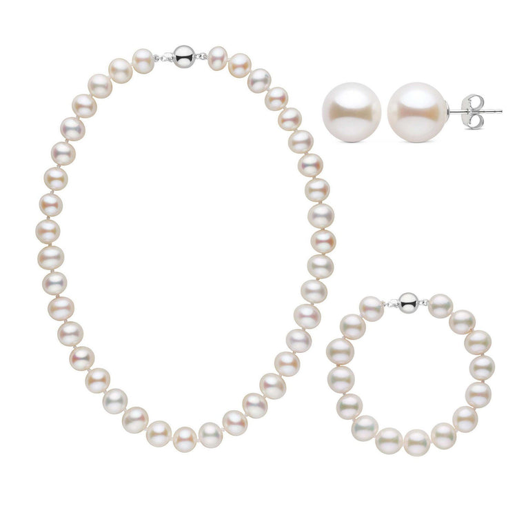 16 Inch 3 Piece 9.5-10.5 mm AA+ White Freshwater Pearl Set
