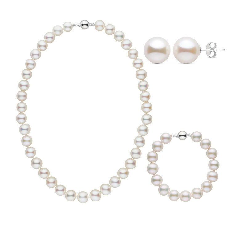 16 Inch 3 Piece 9.5-10.5 mm AAA White Freshwater Pearl Set
