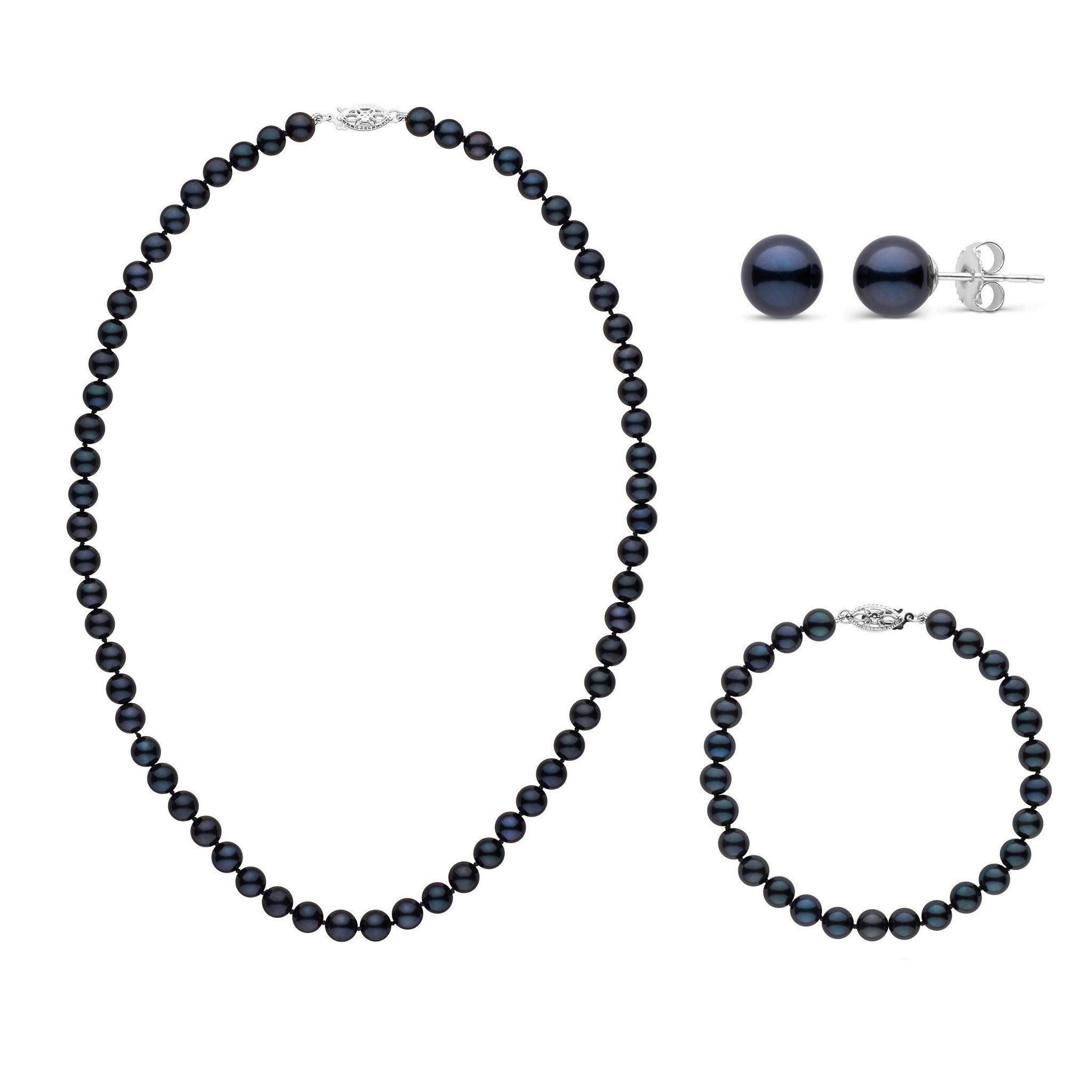 16 Inch 3 Piece Set of 6.0-6.5 mm AA+ Black Akoya Pearls