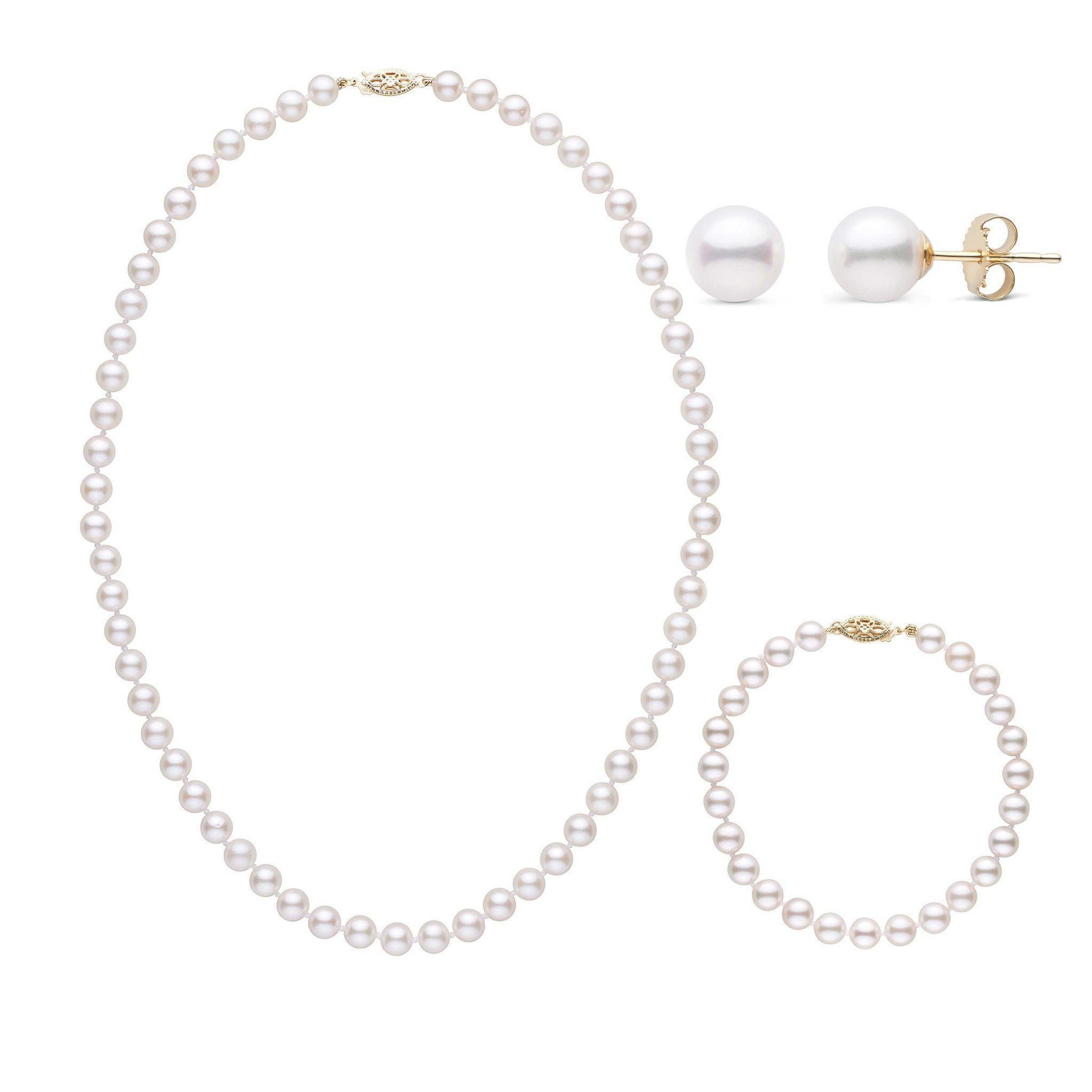 16 Inch 3 Piece Set of 6.0-6.5 mm AA+ White Akoya Pearls
