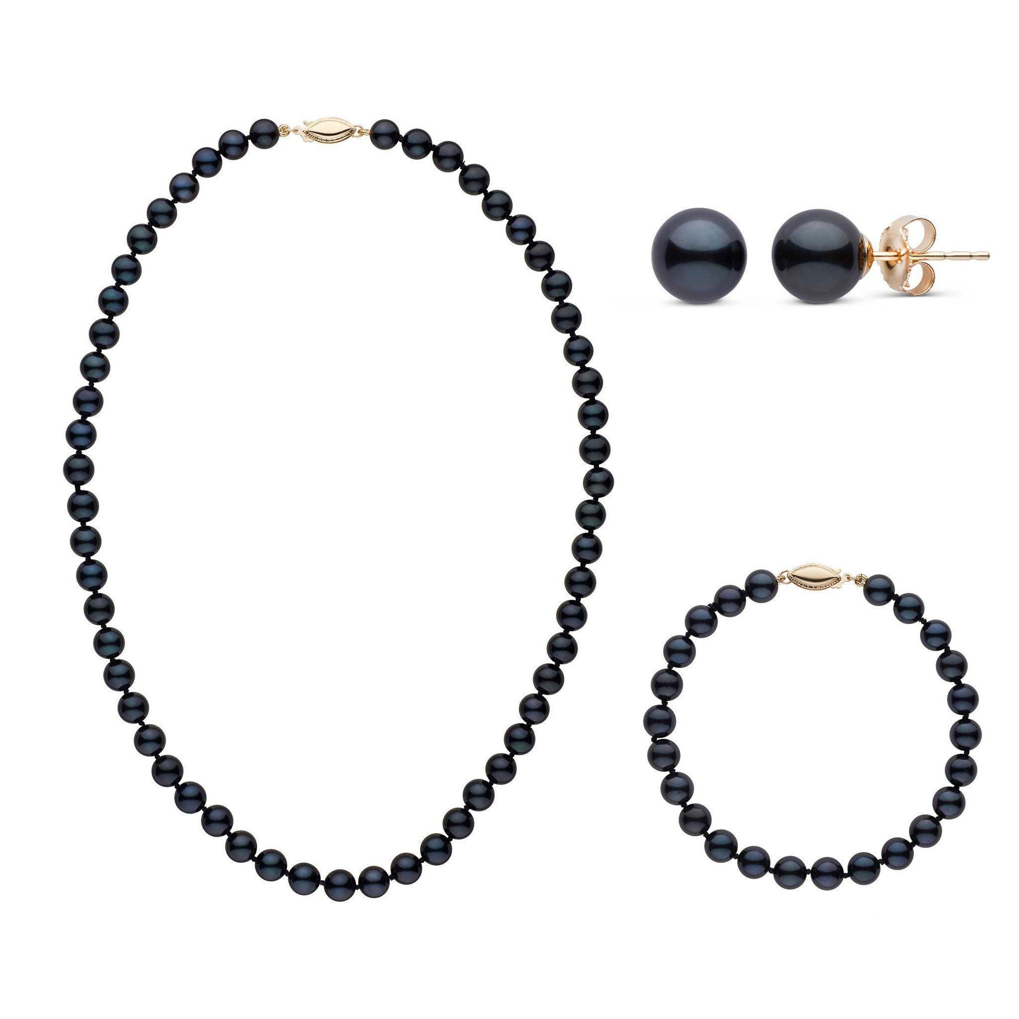 16 Inch 3 Piece Set of 6.5-7.0 mm AA+ Black Akoya Pearls