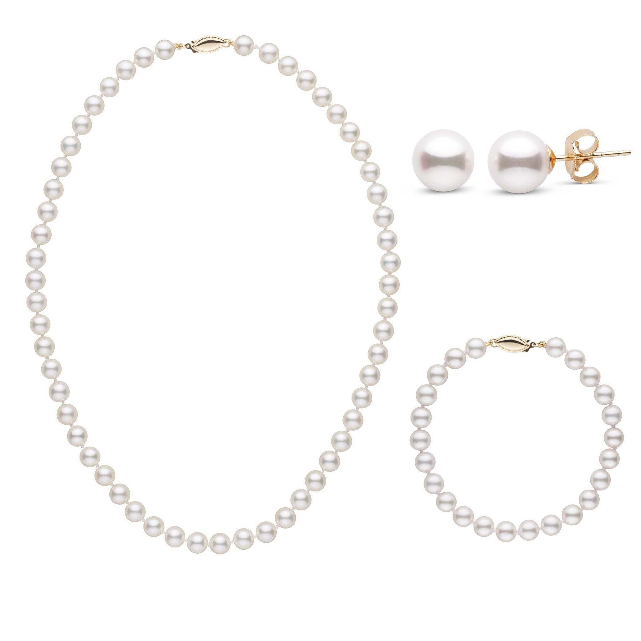 16 Inch 3 Piece Set of 6.5-7.0 mm AA+ White Akoya Pearls