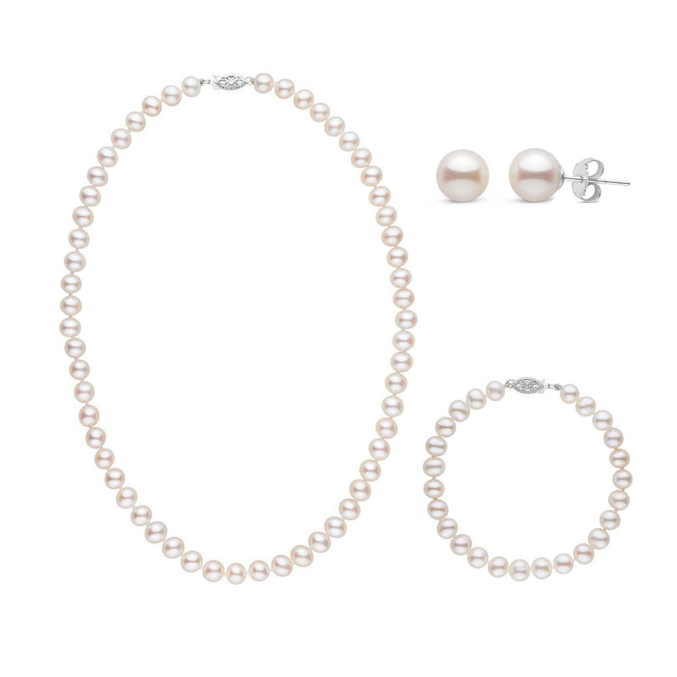 16 Inch 3 Piece Set of 6.5-7.0 mm AA+ White Freshwater Pearls