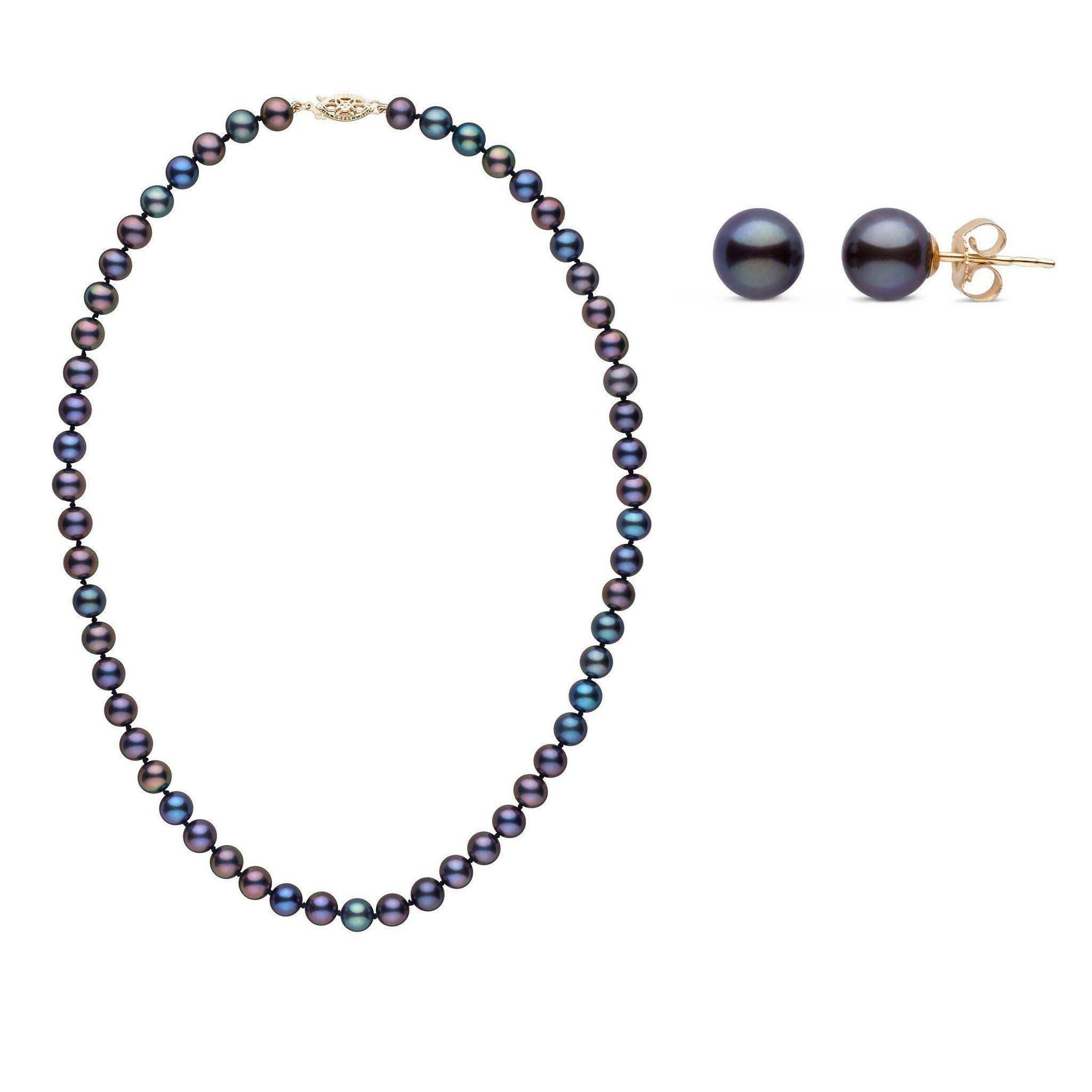 6.5-7.0 mm AAA Black Freshwater Pearls 16 Inch Necklace and Stud Earrings 2 Piece Set